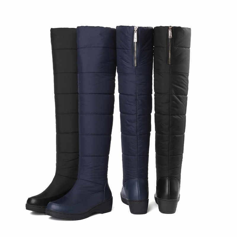 MEMUNIA แฟชั่นผู้หญิงใหม่มาถึงรองเท้าสีดำรองเท้าบู๊ทหิมะสีน้ำเงินซิปแพลตฟอร์มกันน้ำกว่าเข่ารองเท้าบูทรอบ toe