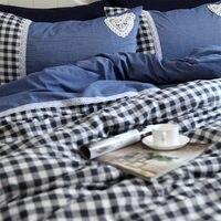 New handsome blue plaid bedding set lace print duvet cover elegant bedspread wrinkle bed sheet bedding sets white bed skirt