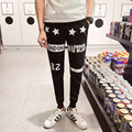 2016 New Arrival Summer High Fashion Men Casual Skinny Pant Black/Gray/Navy Trouser Slim Fit Letter Printed Hip Hop Sweatpant