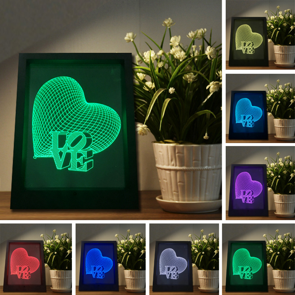 Top Quality 3D Love Heart Photo Frame llusion Remote Touch Switch Night Light 7 Color Changing Mood Lamp Home Decor Family Gifts valentine heart ballon pattern love confession gifts night light