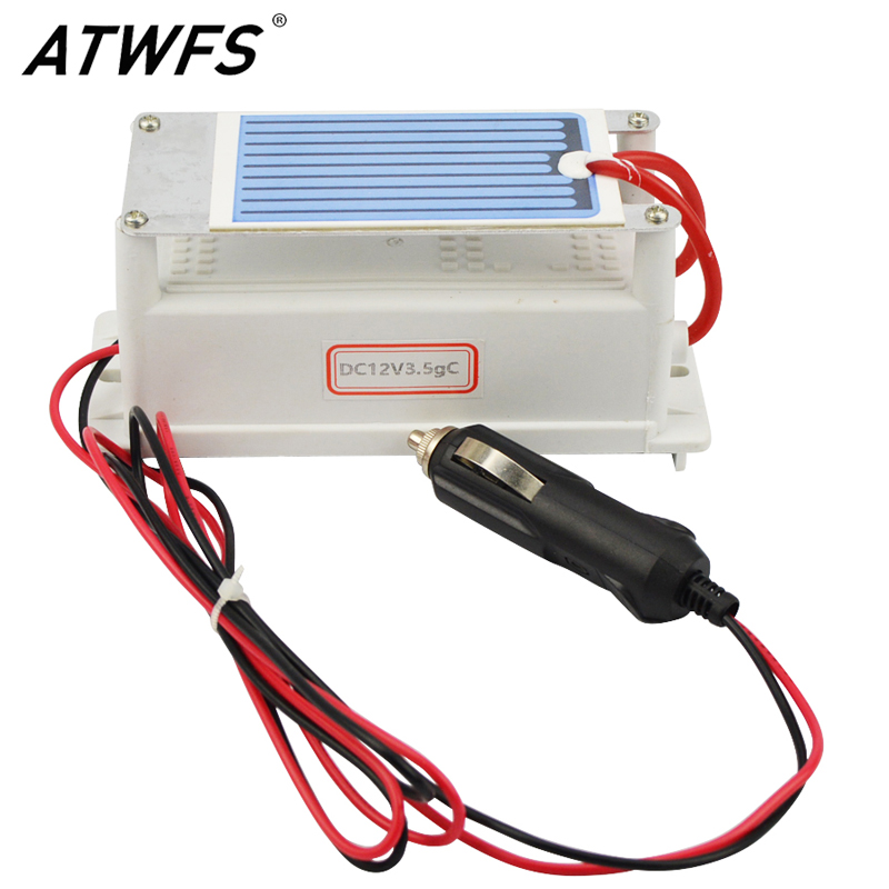 ATWFS Hot Sale Ozone Generator 12v 3.5g/h Car <font><b>Air</b></font> Purifier Ozone Sterilizer Mephitis Absorption Ceramic Plate Longevity