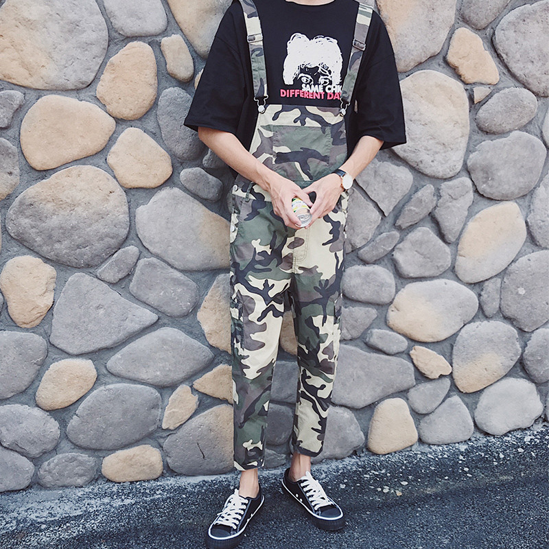 Mens Jumpsuit 2017 New Fashion Camouflage Brand Casual Men Jeans High Quality Denim Overalls Men Couple Clothes Hot