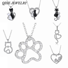 QIHE JEWELRY Lovely Cat Paw Black White 2cat On Heart Crystal Pendant Necklace For Women Girl Best Friend Gift Small Cat Jewelry