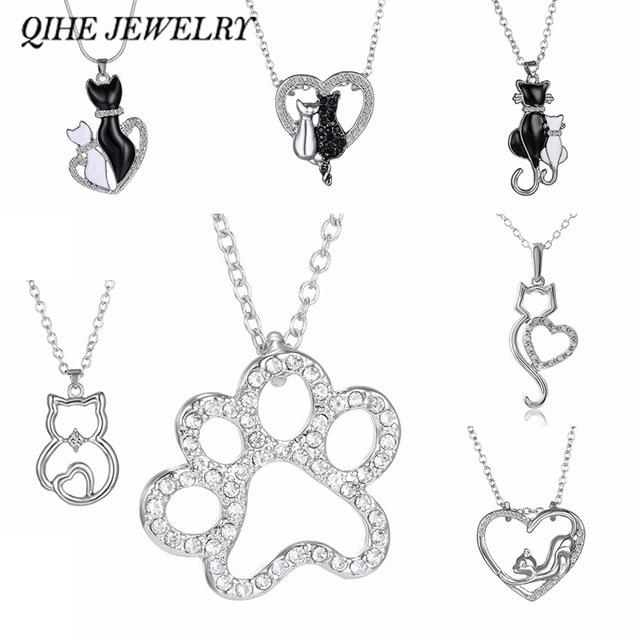 Qihe jewelry lovely cat paw black white 2cat on heart crystal qihe jewelry lovely cat paw black white 2cat on heart crystal pendant necklace for women girl aloadofball Gallery