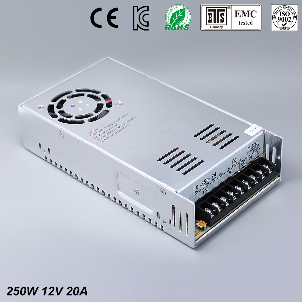 12V 20A 250W Switching Power Supply Driver for LED Strip AC 100-240V Input to DC 12V free shipping