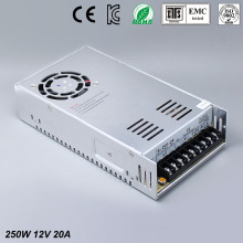 12V 20A 250W Switching Power Supply Driver for LED Strip AC 100-240V Input to DC free shipping