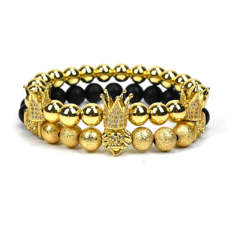 Nove para sempre coroa pulseira homens jóias contas de pedra leão pulseiras para mulheres pulseras mujer pulseira feminina bileklik