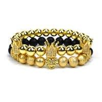 Nueve para siempre corona pulsera de la joyería de los hombres de cuentas de piedra León pulseras para las mujeres pulseras mujer pulseira femenina bileklik