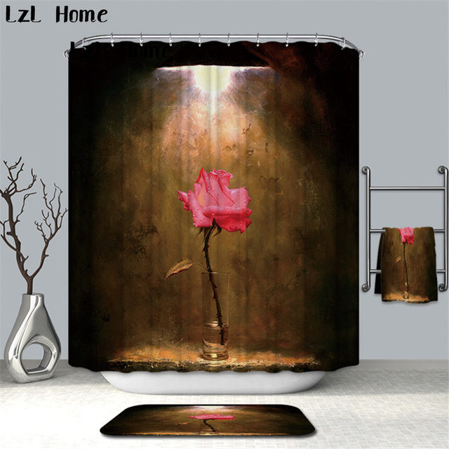 Online Shop LzL Home Psychedelic 3D Flower Shower Curtain White Red ...