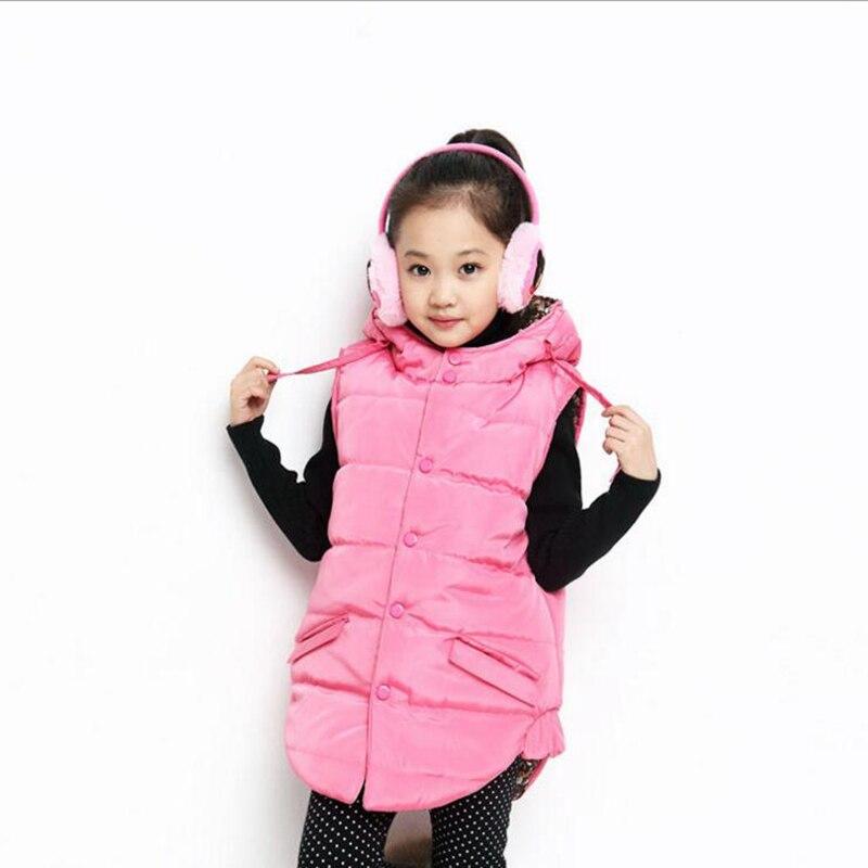ФОТО New Autumn Winter kids girls down vest cotton padded long design floral lining hooded children girls outwear waistcoats