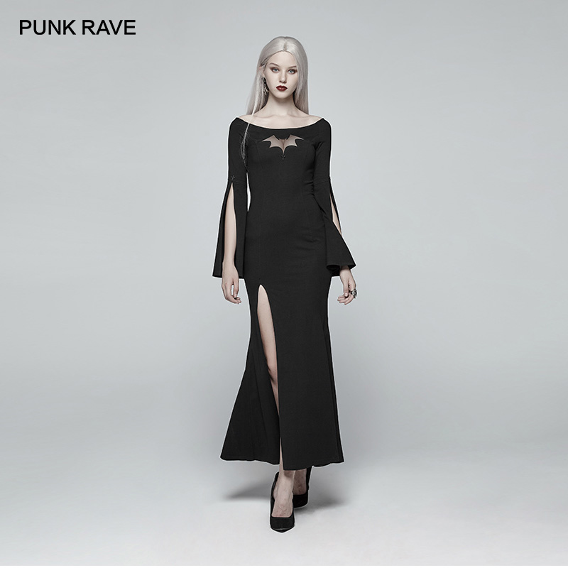 PUNK RAVE Women s Gothic Dress Bat Code Long Prom Personality Black Dress Christmas Halloween Party