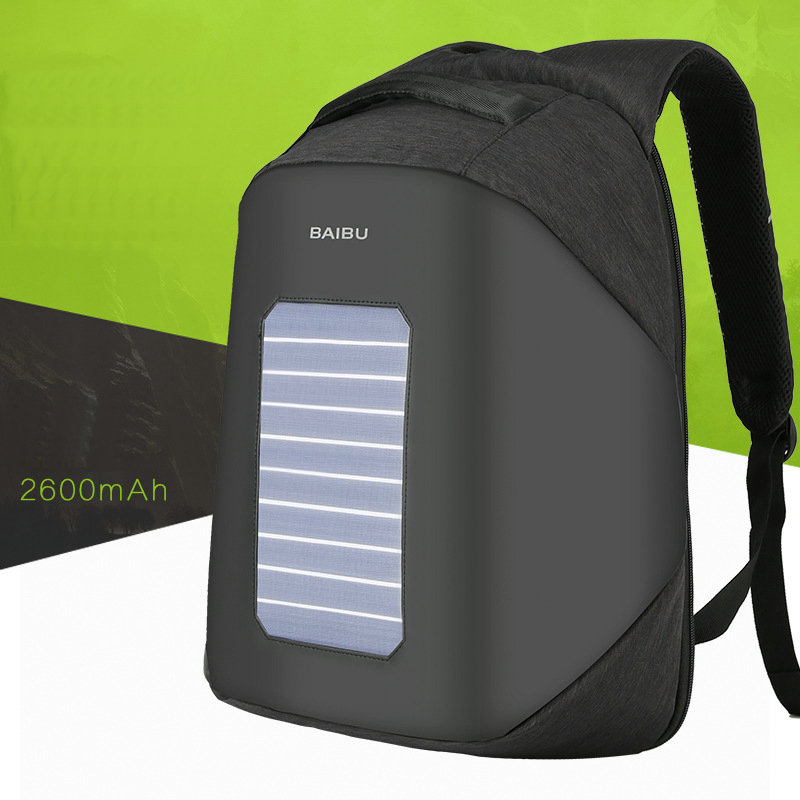 Solar Panel Power Backpack External USB Charge Bag Large Capacity Business Travel Anti-theft Waterproof Laptop Backpack