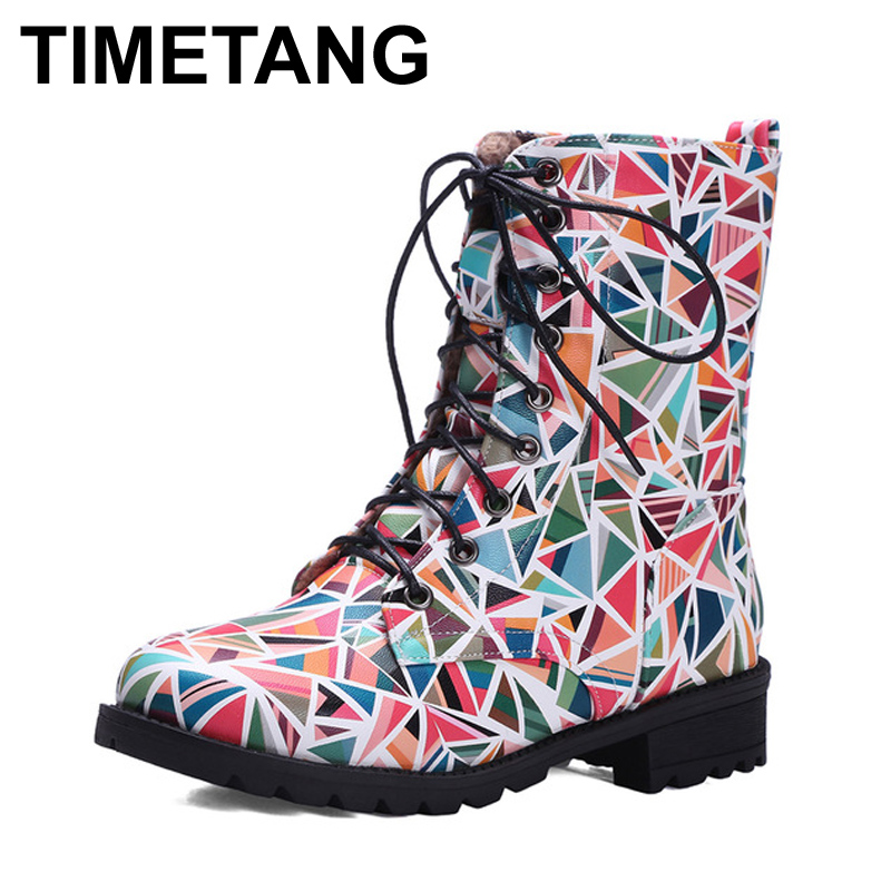 ФОТО Nikbea Punk Martins Boots Women High Ankle Riding Boots Large Size Lace Up Botines Mujer 2016 Autumn Winter Motorcycle Botas