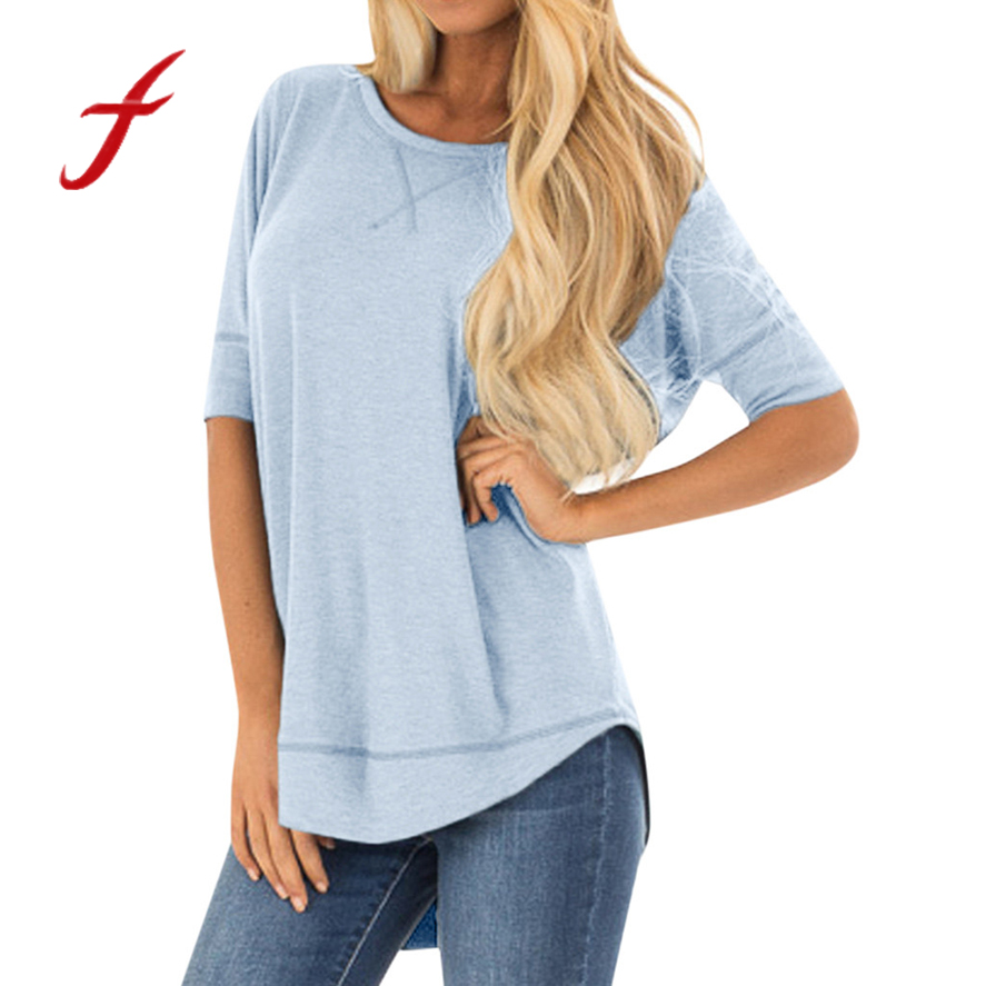 FeiTong womens tshirt new arrival Plain loose long-sleeved top Women Ladies Fashion Solid Long Sleeve Casual Loose T Shirt S-2XL