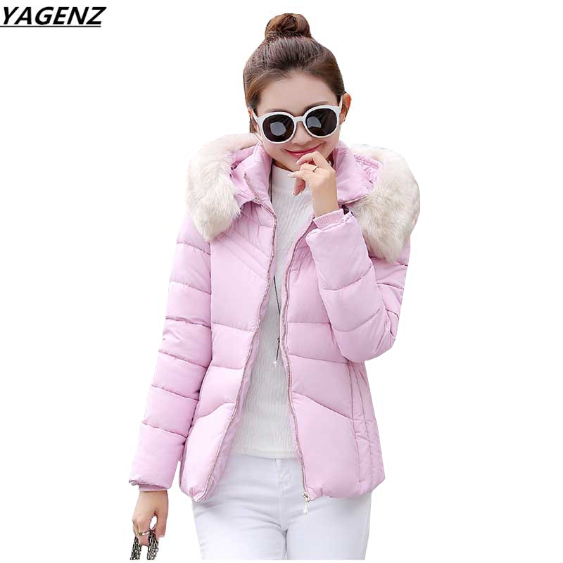 Women Jacket Winter Down Jacket Coat 2017New Fashion Hooded Fur Collar Cotton Outerwear Plus Size 3XL Women Clothing YAGENZ K430 2015 mens down padded coat fashion splice leather patchwork male down coat hooded winter jacket man fur collar plus size xxxxxl