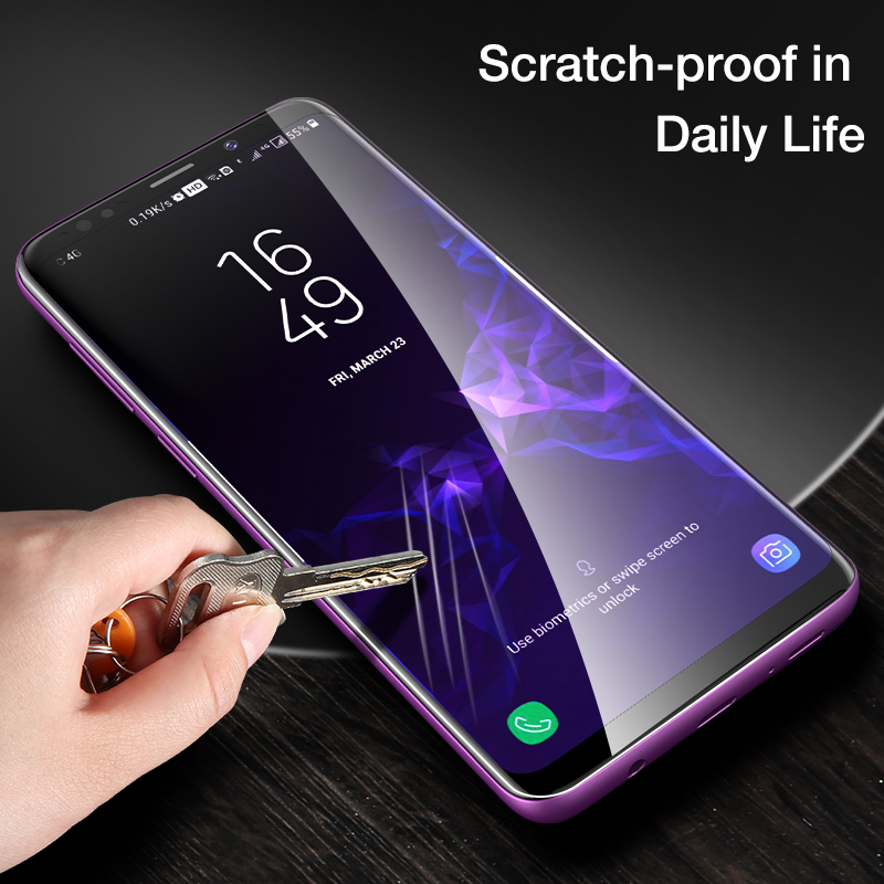 FLOVEME 3D Curved Glass For Samsung Galaxy S9 HD Screen Protector For Samsung S8 S9 Plus Glasses Soft Ultra Thin Tempered Film in Phone Screen Protectors from Cellphones Telecommunications
