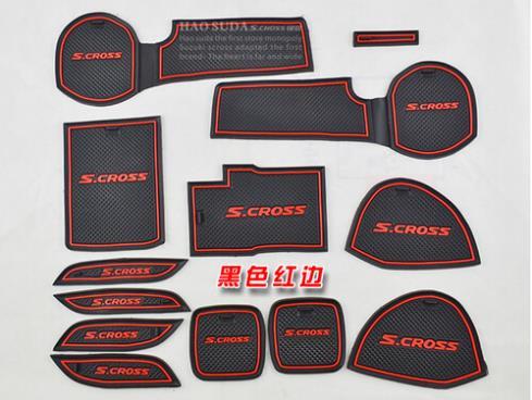 2014-2016 sx4 S.CROSS Door dash Mat Cup Mat Door Tank Pad non slip anti slip 13 pcs for sx4 S-CROSS
