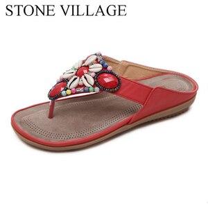 Image 3 - 여름 신발 보헤미아 캐주얼 신발 문자열 비드 플립 플롭 플랫 여름 여성 신발 야외 비치 슬리퍼 여성 슬리퍼