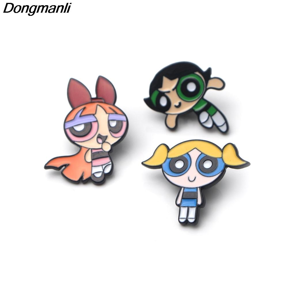 P2449 Dongmanli Cartoon Cute The Powerpuff Girls Metal enamel collar pin lapel badge Jewelry brooch kids gifts Accessories