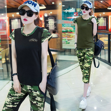 A Capris Sweatshirt Set Clothing Women Camouflage Print Two-Piece Casual Summer Army Fashion Student Casual Train Clothes M-3XL