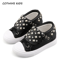 CCTWINS KIDS 2017 Children Fashion Rivet Pink High Top Kid Brand Genuine Leather Black Flat Baby