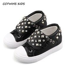 CCTWINS KIDS 2017 Children Fashion Rivet Pink High Top Kid Brand Genuine Leather Black Flat Baby Girl White Stud Sneaker F1654