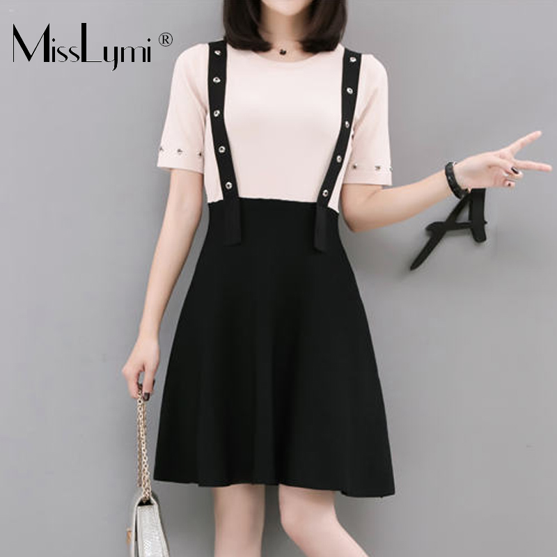 XL-4XL Plus Size Women Cute Dress Summer 2018 O-neck Short Sleeve Knitted Patchwork Rivet Fake Two Piece High Waist Mini Dresses plus size double pockets knitted dress