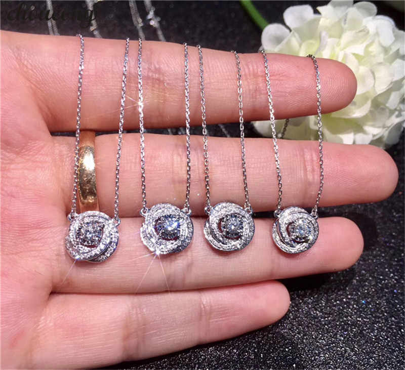 choucong Handmade infinity Pendants 5A Zircon Cz Real 925 Sterling silver Wedding Pendant with Necklace for women Bridal jewelry