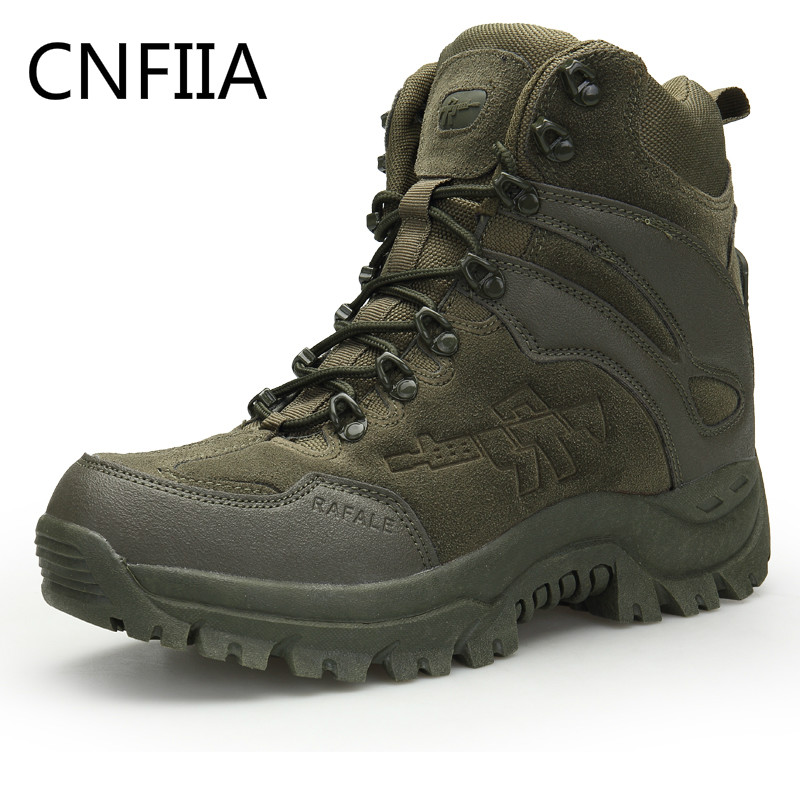 CNFIIA Men Boots Military Combat Boots Green Black Motocycle Tactical Boots 2018 New Plus Size 45 Brand Work Ankle Casual Shoes