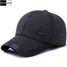 108f2531a76  NORTHWOOD  Winter Thicken Stripped Baseball Cap With Earflaps Warm Wool Snapback  Caps For Men