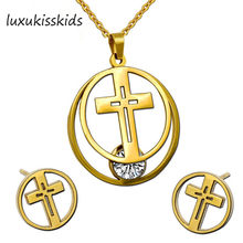 LUXUKISSKIDS Ladies Jewellery Set Stainless Steel Shinning Round Crystal With Cross Female Gold/Silver Color Chains Necklace(China)