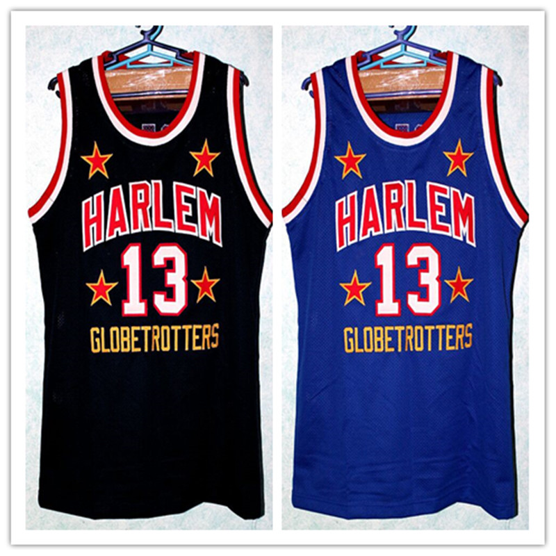 59e18fab ... Authentic Royal Blue Jersey 13 Wilt Chamberlain Harlem Globetrotters Basketball  Jersey Black Blue Embroidery Stitched Custom any Number and .