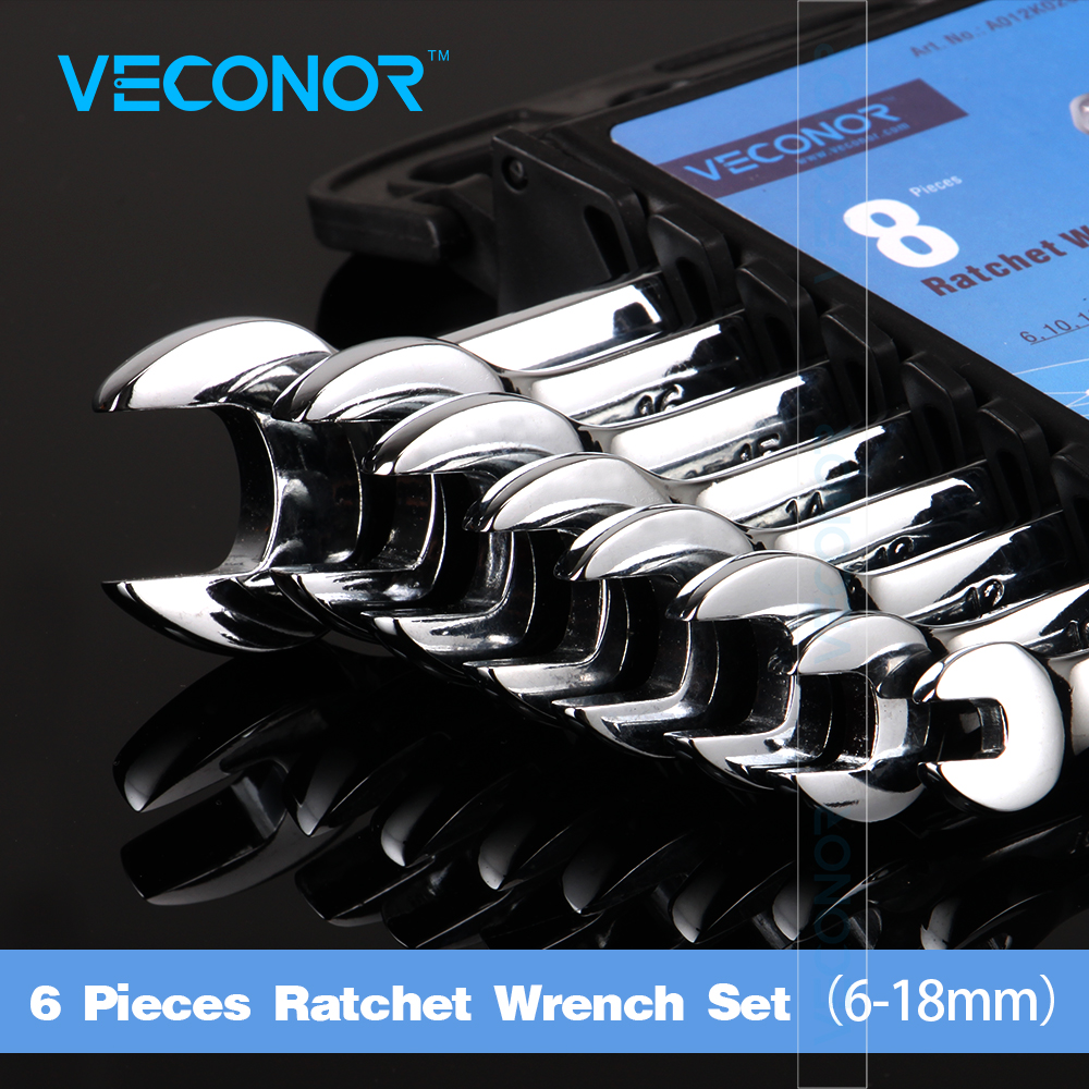 Veconor 6 10 12 13 14 15 16 18mm Ratchet Combination Wrench Set Open Ended Wrench Polished Surface Treatment CRV Material veconor 8pcs set ratchet spanner combination wrench set ratchet handle key chrome vanadium 8 10 12 13 14 15 17 19mm