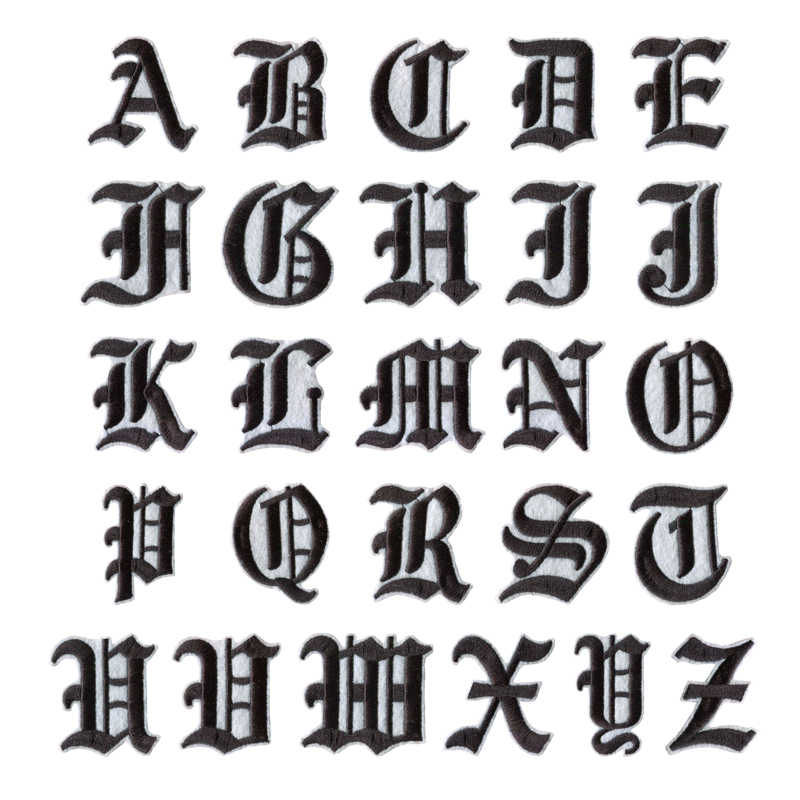 Alphabet Pictures For Each Letter Black And White.Font Embroidery Patches Single Pieces English Alphabet