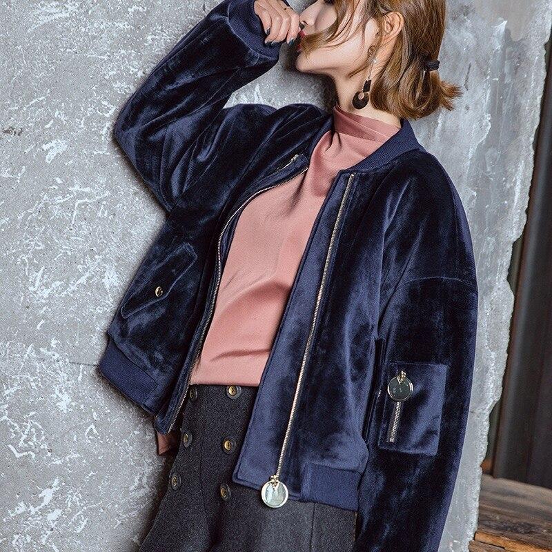Gloria Hiver Et Lâche Grâce De Velours 2019 Oversize Bleu Originale Automne Veste Luxe Foncé Chic Conception Mode Manteau RIHn5W