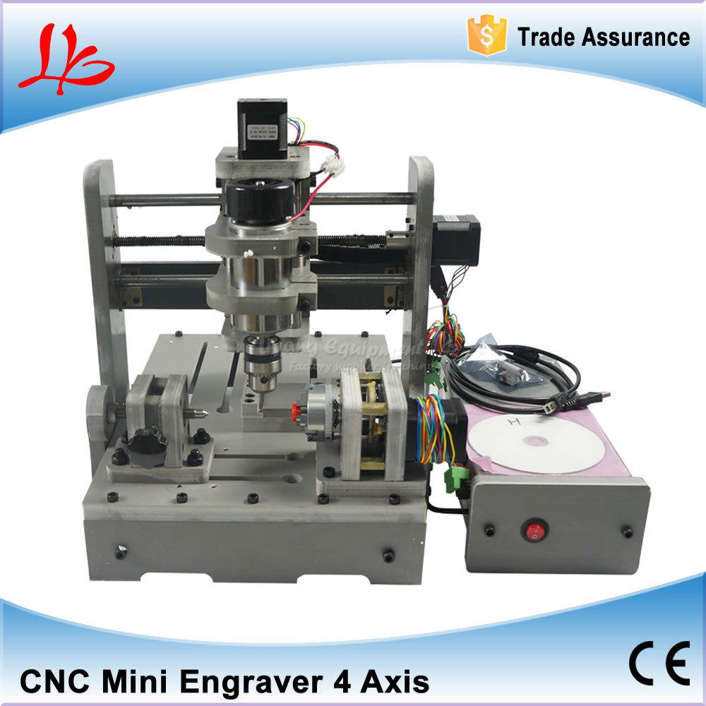 Mini Lathe Woodworking Machine 4 Axis CNC Wood Router CNC 3D Engraving Machine with Rotary Axis 300W Spindle for PCB Milling mini cnc router machine 2030 cnc milling machine with 4axis for pcb wood parallel port