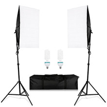 Photo Studio Lighting Kit ,2PCS*50*70CM Softbox +2PCS*2M Light Stand +2PCS*135W light Bulbs ,Photography Photo Soft Box godox tl 5 photo studio continuous lighting tricolor light head light stand softbox photography lighting kit