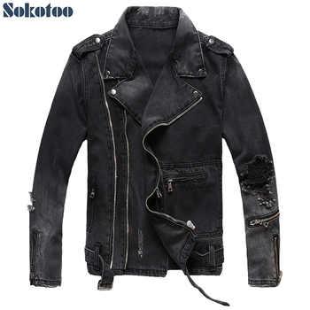 Sokotoo Men's zippers black denim jean biker jacket for motorcycle Vintage epaulet holes ripped distressed coat - DISCOUNT ITEM  10% OFF All Category