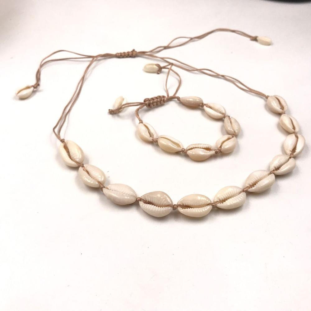 9a646b848 Explosion Jewelry Natural Shell Handmade Bracelet Necklace Set Set Women's  Daily Wild