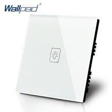 1 Gang 1 Way Switch Wallpad Lujo Cristal Blanco cristal Interruptor de Pared Táctil Interruptor Normal de CA 110-250 V REINO UNIDO Estándar
