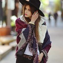 Роскошный брендовый кашемировый женский шарф в клетку, зимняя теплая шаль и обертывания, бандана из пашмины, длинное женское плотное одеяло
