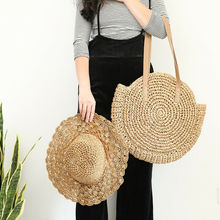 Bohemia Style Women Straw Bag Casual Woven Round Rattan Crossbody Summer Travel Beach Bags