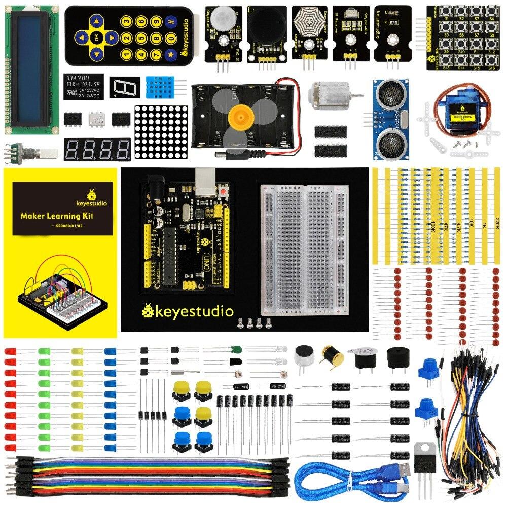 Keyestudio Maker обучения kit/Starter kit (UNOR3) для проекта Arduino W/Подарочная коробка + Руководство пользователя + 1602LCD + шасси + PDF (Олина)