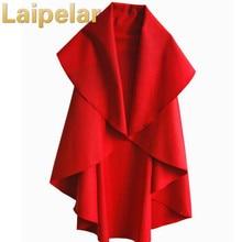 лучшая цена Women's Fashion Long Wool Winter Coats Noble Elegant Cape Shawl Poncho Wrap Scarves Spring Autumn Ladies Woolen Coat Laipelar