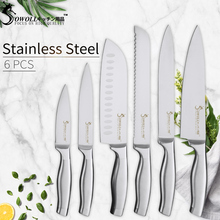 SOWOLL Japanese 3Cr13mov Stainless Steel Kitchen Knives Chef Bread Slicing Santoku Utility Paring Knife Utral Sharp Meat Cleaver