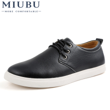 MIUBU New Fashion Autumn Solid Color Men Shoes Leather Low Lace Up Flats Oxford For Driving Size 38-48