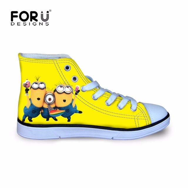 FORUDESIGNS Children Cartoon Yellow Printing Minions Walking Sneakers for Boys Girls Canvas Shoes Autumn High Top Lace Up Shoe