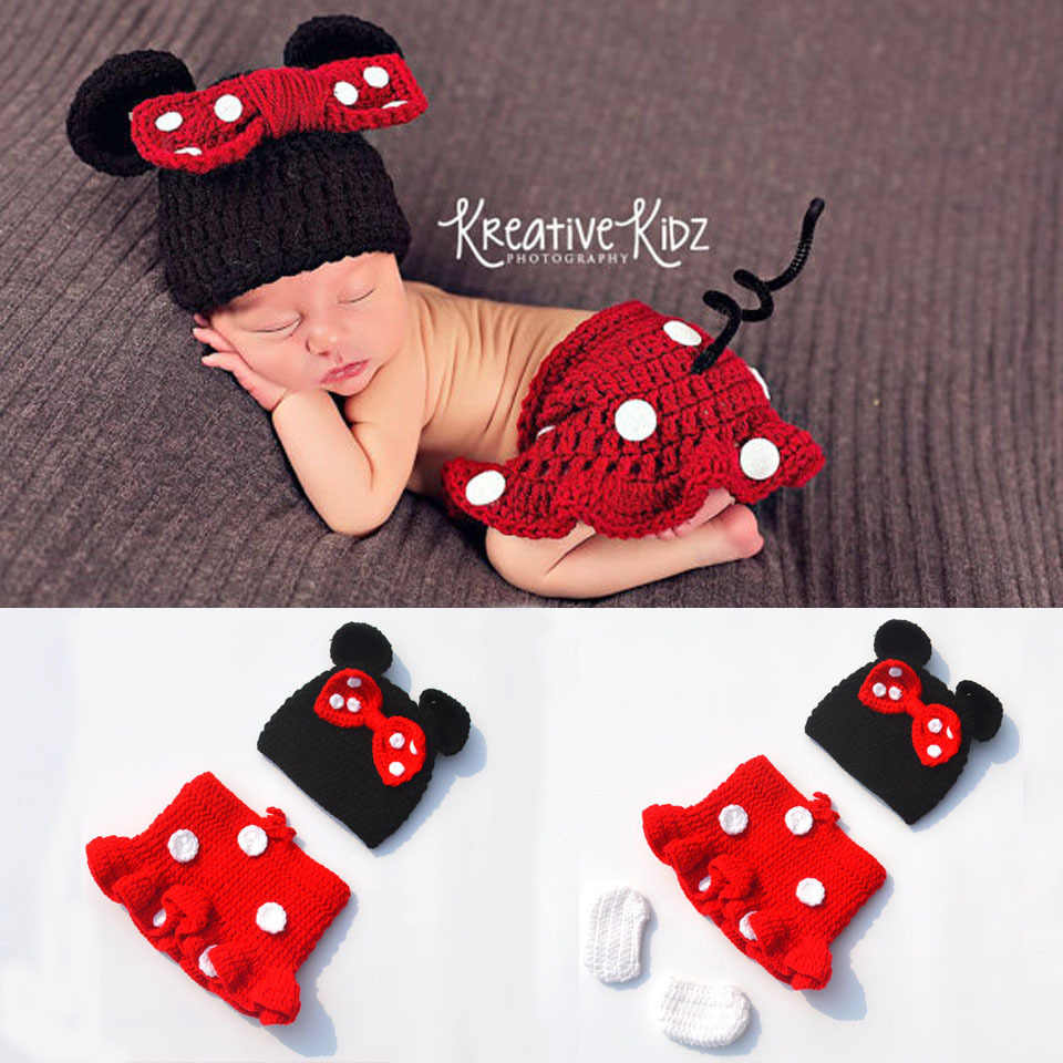 e962410952396 Latest Crochet Baby Cartoon Costume Knitted Newborn Baby Coming Home  Outfits Mickey Baby Girl Photo Props 1set MZS-16028
