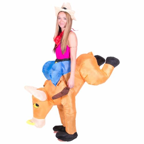 Funny Bull Rider on Cattle Inflatable Costume Outfit Adult Fancy Dress Carnival Party Blow Up Inflatable Costume Suit full set