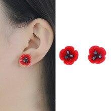 Maywell star red poppy 925 puur zilver natuurlijke parel oorbellen